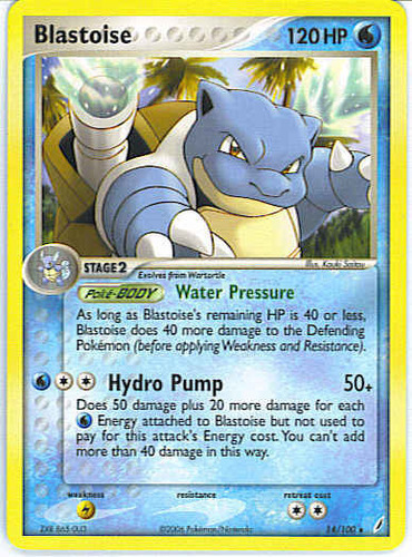 Blastoise card for EX Crystal Guardians
