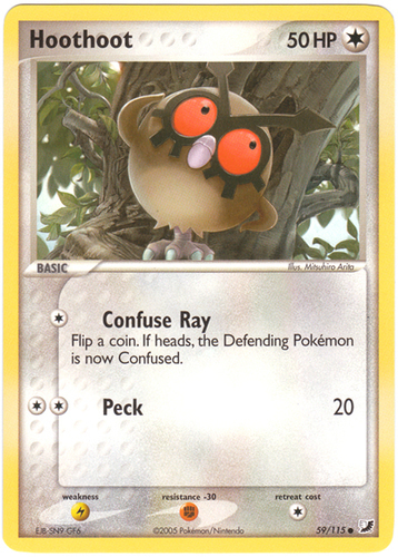 Hoothoot card for EX Unseen Forces