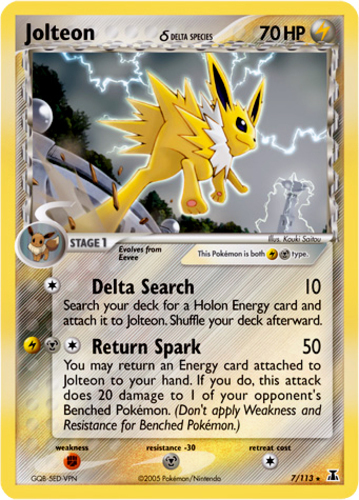 Jolteon card for EX Delta Species