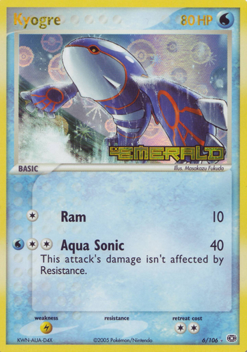 Kyogre card for EX Emerald