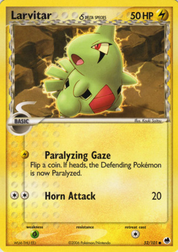 Larvitar card for EX Dragon Frontiers