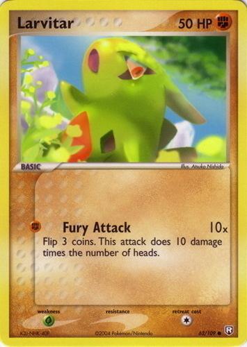 Larvitar card for EX Team Rocket Returns