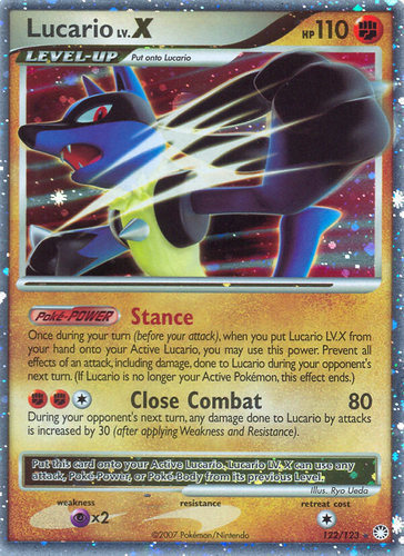 Lucario LV.X card for Mysterious Treasures