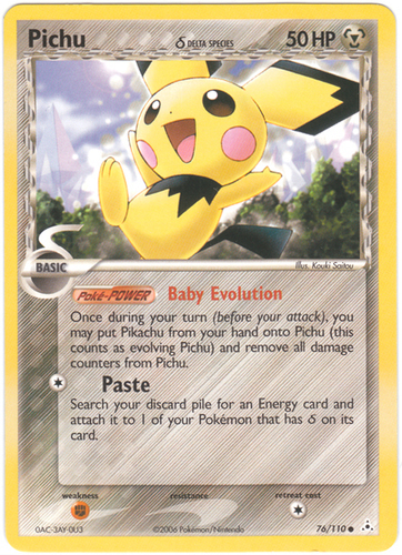 Pichu card for EX Holon Phantoms