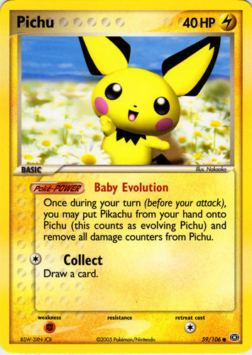Pichu card for EX Emerald