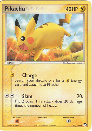 Pikachu card for EX Power Keepers