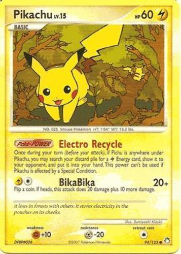 Pikachu card for Mysterious Treasures