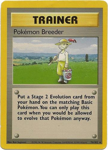 Pokémon Breeder card for Base Set 2