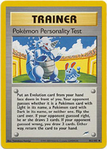 Pokémon Personality Test card for Neo Destiny