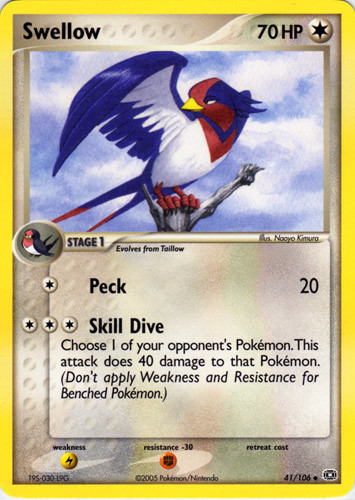 Swellow card for EX Emerald