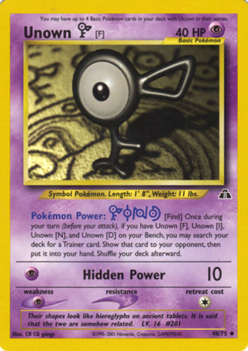 Unown F card for Neo Discovery