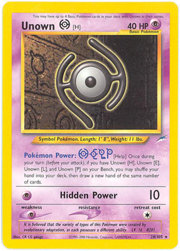 Unown H card for Neo Destiny