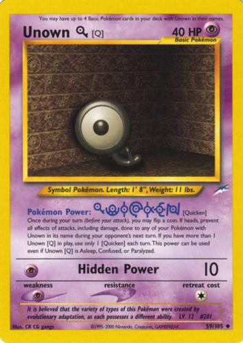 Unown Q card for Neo Destiny